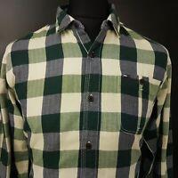 Tommy Hilfiger Mens FLANNEL SHIRT MEDIUM Long Sleeve Green Regular Check Cotton