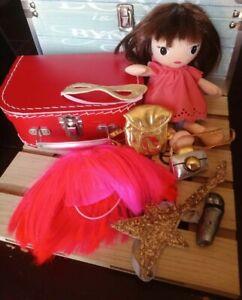 Doudou poupée chiffon 25 cm perruque sac accessoires valise H&M