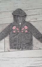 Girls Grey/floral Hoodie Age 3-4 Years