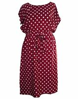 Maroon White Spot Tea Dress Crew Neck Viscose Retro Size 18 20 26 28