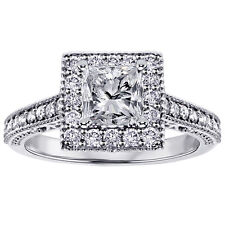 Engagement Ring in 18k White Gold 1.10 Ct Square Halo Princess Cut Diamond
