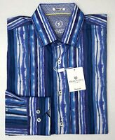 NWT $199 Bugatchi Blue Striped Shirt Shaped Fit Mens M Long Sleeve 100% Cotton