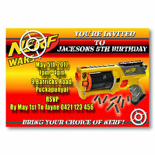 Personalised Nerf Wars Birthday Party Invitations - You Print