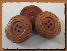 3 BOUTONS * 27 mm  4 trous * MARRON caramel  belle imitation cuir brown button