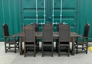 18th Century Style Oak Refectory Table and Chairs