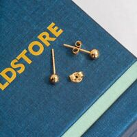 14K Solid Yellow Gold Ball Stud Earrings 4mm