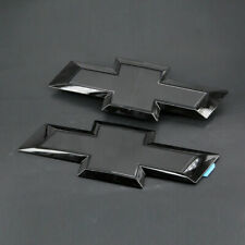NEW Gloss Black Front & Tailgate Bowtie Emblem For 2016 - 2018 GM Silverado 1500