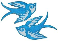 Pair Of Aqua Blue Swallows Rockabilly  Iron / sew on silk Embroidered Patch UK