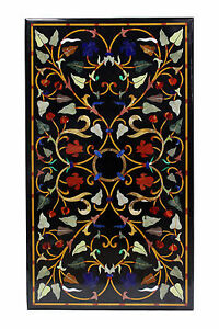 """24""""x42"""" Marble Dining Table Top Malachite Inlay Marquetry Work Home Decor Gifts"""