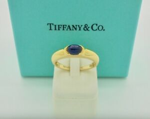 Authentic Vintage Tiffany & Co. Cabochon Sapphire 18k Yellow Gold Band Ring