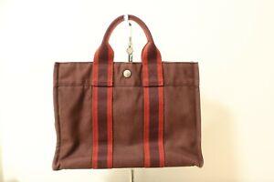 Authentic Hermes Fourre Tout PM Canvas Tote Bag Brown #8021