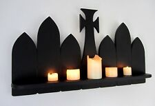 Large 83cm Matte Black Gothic floating shelf Graveyard Tombstones Halloween
