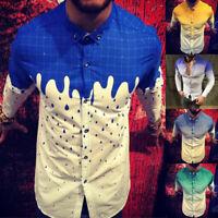 Men Casual Long Sleeve Shirts Business Slim T-Shirt Print Blouse Tops Plus Size