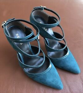 New - Reiss High Heel Stappy Suede Court Shoe In Teal/Patent Size UK 3/ 36