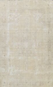 Antique Distressed Muted Tebriz Evenly Low Pile Area Rug Hand-knotted Wool 9x12