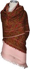 Schal hand bestickt hand embroidered 100% Wolle wool scarf Kashmir Rosa