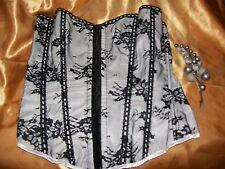 Black/white lace overlay hook & eye front lace up back boned basque Large BNWOT