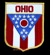 OHIO STATE FLAG EMBROIDERED IRON ON PATCH OH COLUMBUS SHIELD USA BUCKEYE WOW