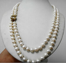 """DOUBLE STRANDS PERFECT ROUND 17""""19""""8-9MM SOUTH SEA WHITE PEARL NECKLACE"""
