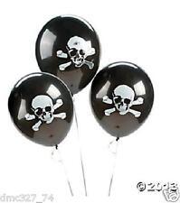 "48 PIRATE Halloween Party Decorations 11"" Latex BALLOONS BLACK SKULL CROSSBONES"
