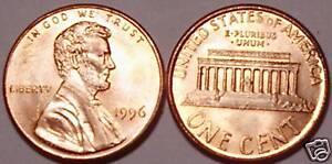 1996-P BRILLIANT UNCIRCULATED LINCOLN CENT
