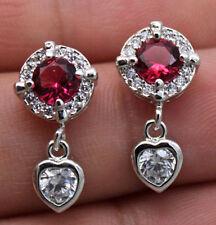 Topaz Zircon Heart Wedding Stud Gems Earrings 18K White Gold Filled - Ruby Round