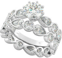 New Ladies 925 Sterling Silver Tear drop Wedding Engagement Ring Set