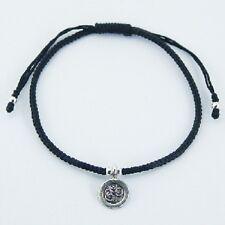 bracelet Handcrafted Macrame Antiqued silver OM Symbol ohm charm adjustable