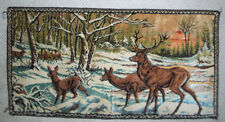 Vintage deer family buck doe fawn in winter  tapestry
