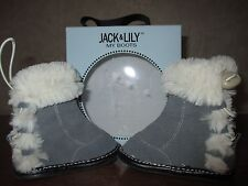 "NIB Boys Jack & Lily,  0-6 Months, Suede Gray Leather & Fur ""My Boots"" Shoes,"