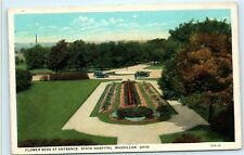 Flower Beds Entrance State Hospital Garden Grounds Massillon Ohio Postcard A90