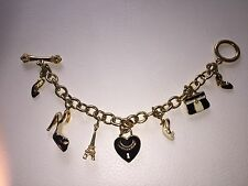 CHARM JUICY COUTURE Bracelet Paris Doré Heart gold chain plated Eiffel Tower