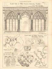 1883 ANTIQUE ARCHITECTURE, DESIGN PRINT- BEVERLEY MINSTER, EAST SIDE OF ALTAR SC
