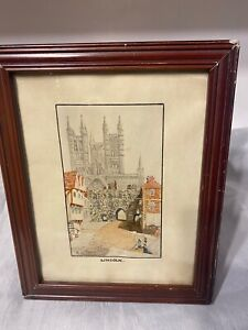Vintage Framed Watercolour Lincoln Cathedral