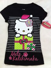 Girl Hello Kitty black Mele Kalikimaka Holiday Xmas T-Shirt Top Hawaii, Size M