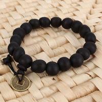 Men's Wood Buddha Buddhist Prayer Beads Tibet Mala Charm Lucky Wrist Bracelet