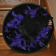 Halloween Adult Witch Hat Black with Purple Feathers Costume Accessory Party NEW