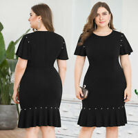 Womens Plus Size Bodycon Dress Evening Cocktail Midi Skirt Short Sleeve Casual
