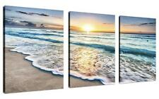 Beach Canvas Wall Art 3 Panel Sand Sunset Ocean Picture Home Decor Gift New