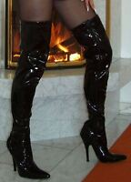 High Heels Overknee Stiefel Schwarz 44 Lack Stiletto Absatz Klassisch