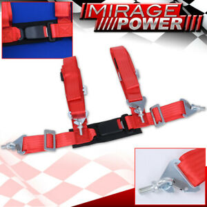 """Red 4Pt Single Safety Seat Belt Harness Strap 2"""" W/ Buckle Latch On / Off"""