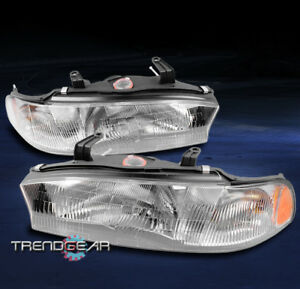 FOR 1995-1997 SUBARU LEGACY OE STYLE REPLACEMENT HEADLIGHTS LAMP CHROME PAIR SET