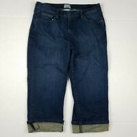 Levi's 515 Capri Jeans Womens Size 10 Blue Dark Wash Cuffed Stretch Denim High