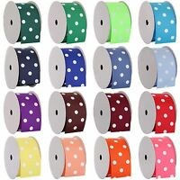 "Dots Grosgrain Ribbon 3/8"",7/8"",1 1/2"",2 1/4"" widths 5 &10 yd rolls 19 colors"