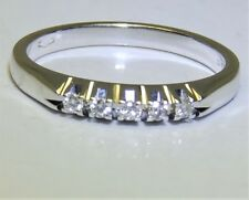 18CT DIAMOND ETERNITY RING 5 STONE 18 CARAT WHITE GOLD 0.1CT DIAMOND BAND RING