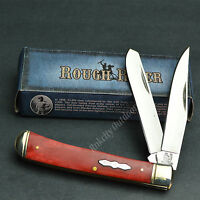 ROUGH RIDER 440 Stainless Red Smooth Bone Trapper Folding Pocket Knife RR431