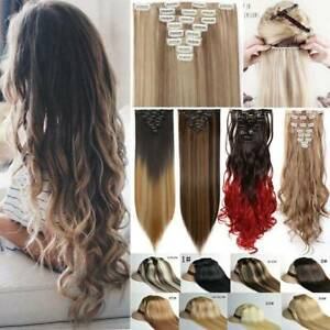 Full Head Real Thick Clip In Hair AS Remy Extensions Long Curly Straight 8 Piece