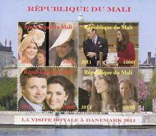 Mali 2011 MNH Prince William & Kate Royal Visit Denmark 4v M/S Royalty Stamps