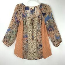 MEADOW RUE Anthropologie Sheer Lace Peasant Boho Festival Tunic Top Women's S