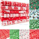 Christmas Fabric Red Blue Per Metre Half Fat Quarters Bundle Polycotton Remnants
